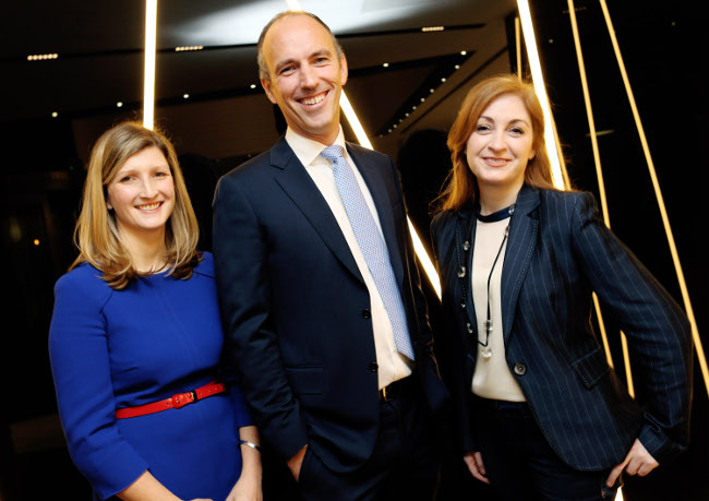 Dr Helen McBreen, venture leader of NDRC; Aidan Meagher, EY's head of life sciences; and Leonora O'Brien, CEO of Pharmapod, at the FutureHealth Launch